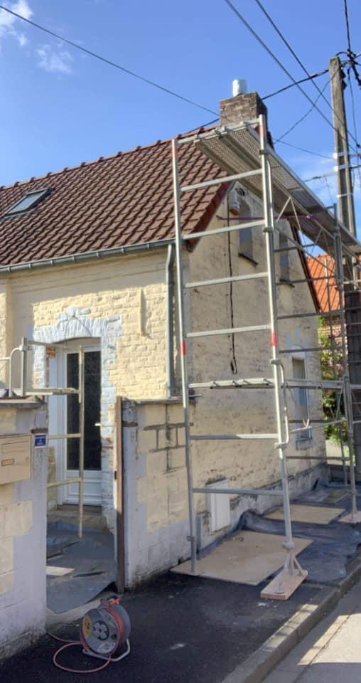 Ravalement de façade avant sur la commune de Jenlain